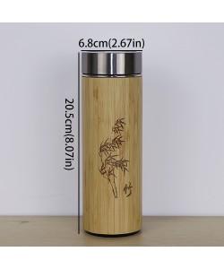 Natur Bio Bambus Thermos Flasche aus Edelstahl Wasserflasche Isolierflaschen Isolierte Termos becher tee Tasse