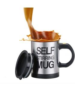 Kaffeetasse Kreativer Edelstahl-selbstaufrührender Becher mit Deckel, automatische mischende Isolierkaffeetasse