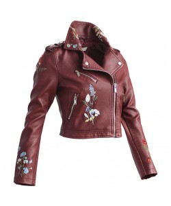 Blumen Stickerei Kunstleder Motorrad Jacke Style Frauen Mode Street Jacken Langarm