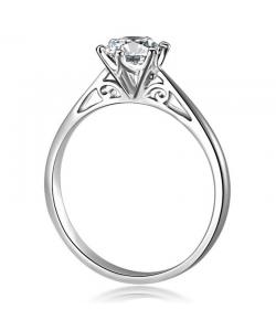 Design Solitär Ring Sechsklaue Hochzeit Diamant Brilliant Platin Weiß Gold Moissanite