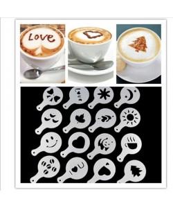 16 Stück Kakao Pulver Schablone Form Kaffee Milch Geschenk Mold Kaffee Cappuccino