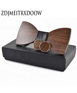 Elegante Holzfliege + Manschettenknöpfe Set Holz Fliege Herren Anzug Krawatte außergewöhnlich