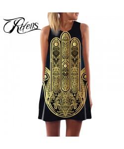 Boho Vintage Sommer Kleid Tunika ärmellos Hand von Fatima Blick Frauen Kleider Schwarz Gedruckt