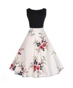 Vintage Cocktailkleid mit Blumendruck Elegant Weiblich Partykleid Vintage Kleider