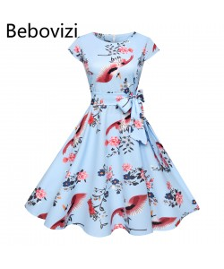 Cocktailkleid mit Blau bedruckten Blumen Rockabilly Swing Elegante Konzert Party Tunika Kleider Retro