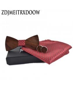 Holz Fliege + Manschettenknöpfe + Einstecktuch Set - Hochzeit Anzug Krawatte Hemd Holzfliege Geschenkidee