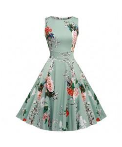Blumendruck Sommerkleid Ärmellos Tunika 50er Jahre Vintage Kleid Gürtel Elegant Rockabilly Party Kleider Sommerkleid