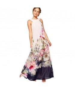 Sommer Maxi Kleid ärmellos Blumen Muster Druck Party Kleider Frauen Boho Casual Long Beach Sommerkleid Tunika