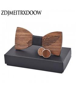 Edle Holz Fliege mit Feder Krawatten für Herren Hochzeit Anzüge Holz Fliege Schmetterling Form Bowknots