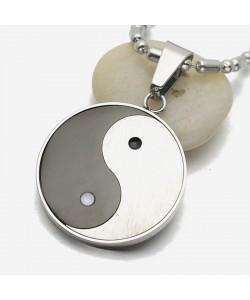 Yin Yang Taichi Anhänger Halskette Edelstahl mit Kette Yoga Gesundheit Spirit