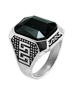 Männerring Qualitäts Ring Schwarz Rechteckig Viereckig Edelstahl Schmuck Silber Farbe